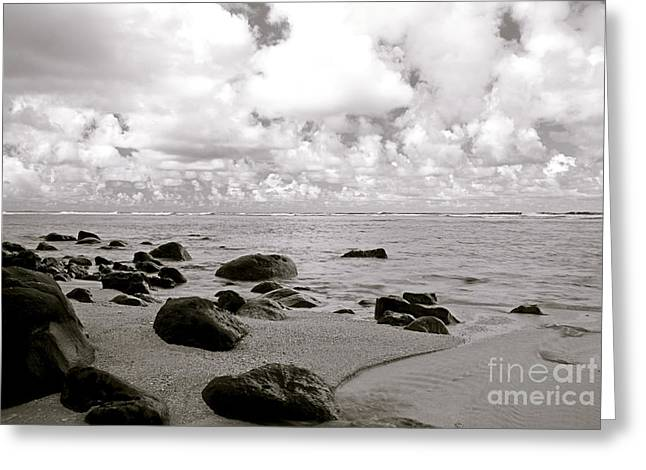 Offshore Rocks Greeting Cards - Black and White Beach Scene Greeting Card by Kicka Witte - Printscapes
