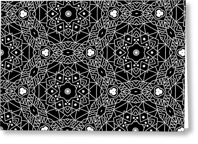 Black And White Boho Pattern 3- Art By Linda Woods Greeting Card by Linda Woods