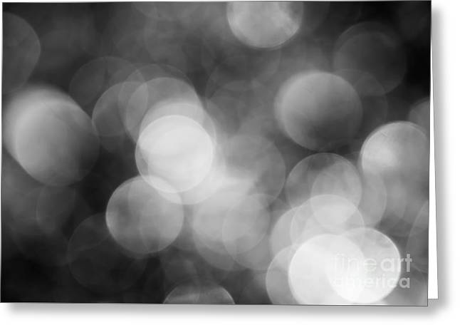 Jan Bickerton Greeting Cards - Black and White Bokeh Greeting Card by Jan Bickerton