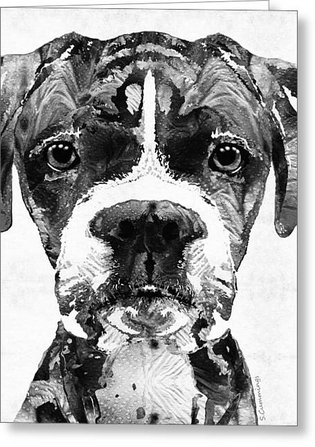 Dog Portraits Greeting Cards - Black And White Boxer Dog Art By Sharon Cummings  Greeting Card by Sharon Cummings