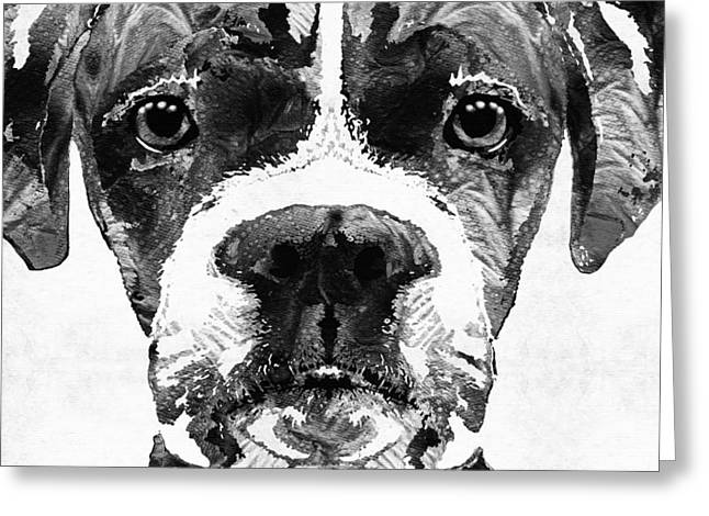 Boxer Dog Greeting Cards - Black And White Boxer Dog Art By Sharon Cummings  Greeting Card by Sharon Cummings