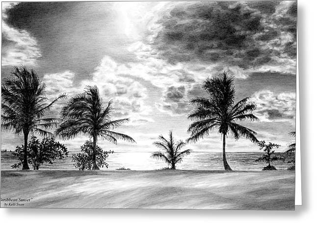 Beach Sunsets Drawings Greeting Cards - Black and White Caribbean Sunset Greeting Card by Kelli Swan