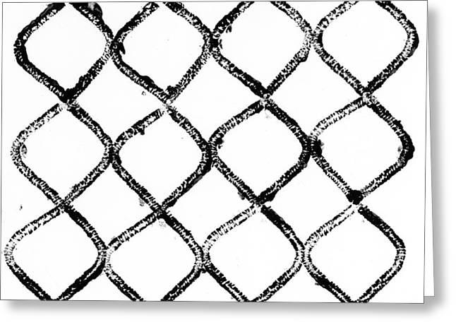 Black And White Geometric Greeting Cards - Black And White Chain Link Fence Greeting Card by Gillham Studios