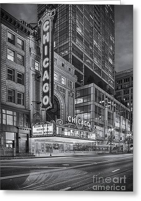 Black And White Chicago Theatre At Dusk  - 175 North State Street - Chicago Illinois Greeting Card by Silvio Ligutti