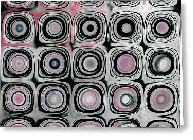Black and White Circles B Greeting Card by Patty Vicknair