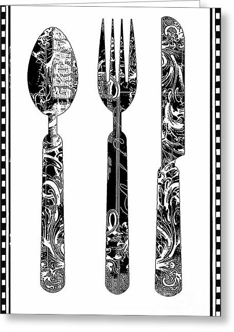 Award Mixed Media Greeting Cards - Black and White Classic Utensils Kitchen Print Greeting Card by ArtyZen Studios - ArtyZen Home