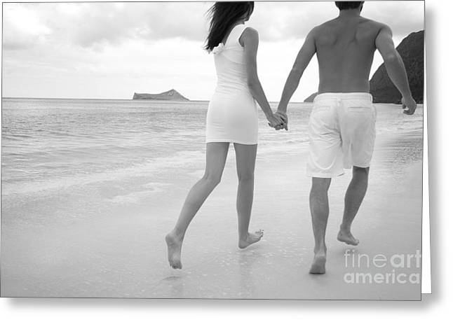 Holden Beach Greeting Cards - Black and white couple Greeting Card by Brandon Tabiolo - Printscapes