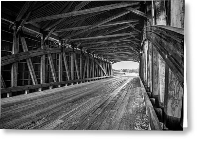 Covered Bridge Greeting Cards - Black and White covered bridge scene Greeting Card by Sven Brogren