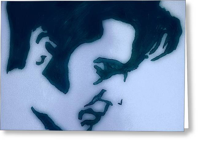 Black And White Elvis Greeting Card by Robert Margetts
