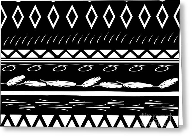 Home Decor Posters Mixed Media Greeting Cards - Black and White Ethnic Tribal Print Greeting Card by ArtyZen Studios - ArtyZen Home