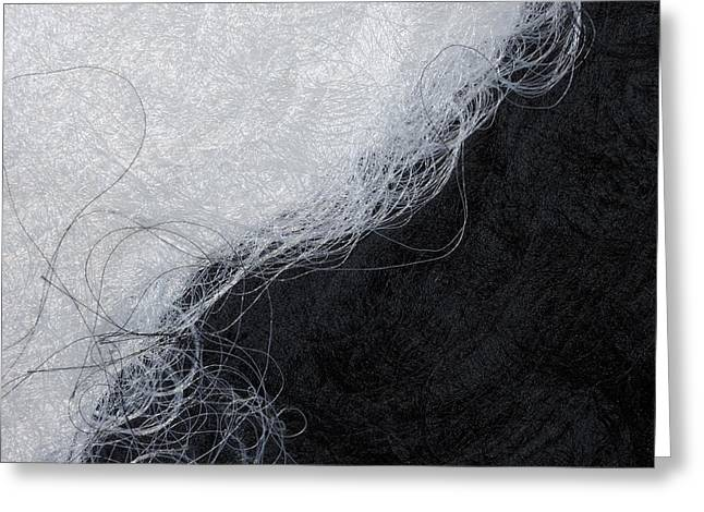 Man Made Abstract Greeting Cards - Black and white fibers - yin and yang Greeting Card by Matthias Hauser