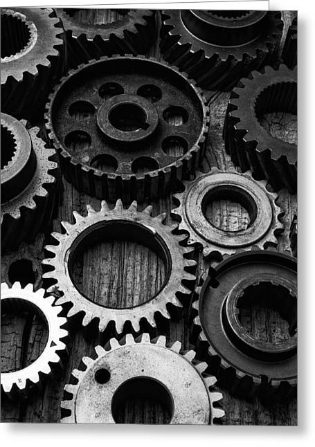 Black And White Gears Greeting Card by Garry Gay