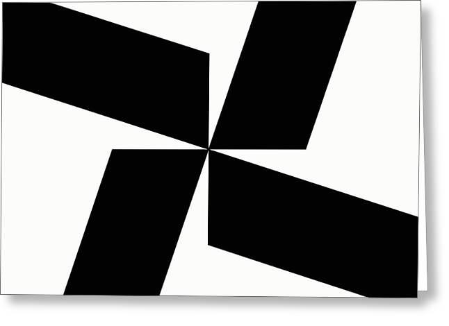 Geometrical Art Greeting Cards - Black and White Geometric 5 Greeting Card by David G Paul
