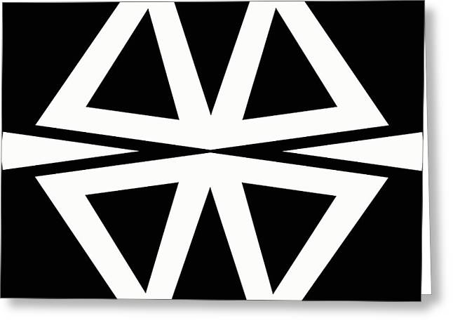 Geometrical Art Greeting Cards - Black and White Geometric 7 Greeting Card by David G Paul