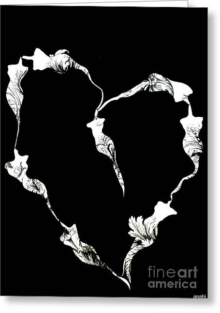Mulher Greeting Cards - Black and White Girl Power Heart Art Print  Greeting Card by Anahi DeCanio