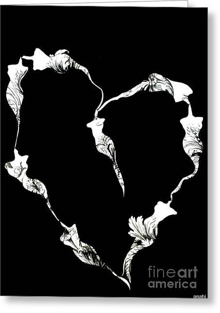 Anahi Decanio Greeting Cards - Black and White Girl Power Heart Art Print  Greeting Card by Anahi DeCanio
