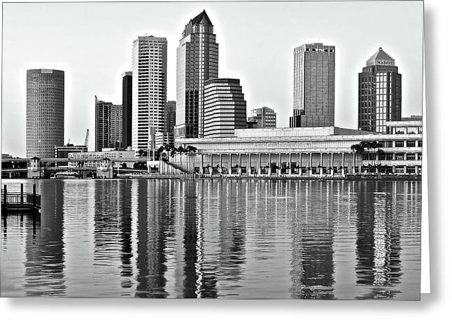 Black And White In The Heart Of Tampa Bay Greeting Card by Frozen in Time Fine Art Photography