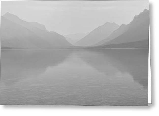 Apgar Greeting Cards - Black And White Lake McDonald Sunset Greeting Card by Adam Jewell