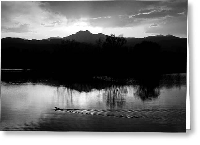 Black And White Lake Sunset Greeting Card by James BO  Insogna