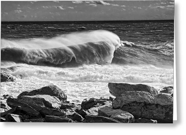 Coastal Maine Greeting Cards - Black and White Large Waves Near Pemaquid Point On The Coast Of  Greeting Card by Keith Webber Jr