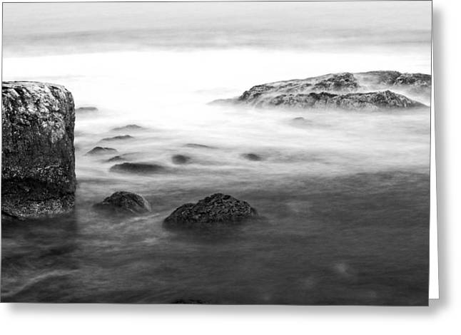 Maine Beach Greeting Cards - Black and White Long Exposure of Ocean waves and Rocks Greeting Card by Keith Webber Jr