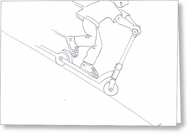 Brakes Drawings Greeting Cards - Black and White Micro Scooter Downhill Drawing Greeting Card by Mike Jory
