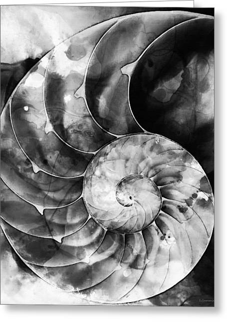Abstract Geometric Greeting Cards - Black And White Nautilus Shell By Sharon Cummings Greeting Card by Sharon Cummings