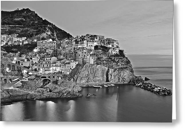 Black And White Night For Manarola Greeting Card by Frozen in Time Fine Art Photography