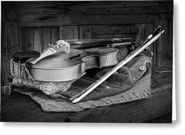 Violin Bows Violin Bows Greeting Cards - Black and White of Acoustic Country Fiddle Greeting Card by Randall Nyhof
