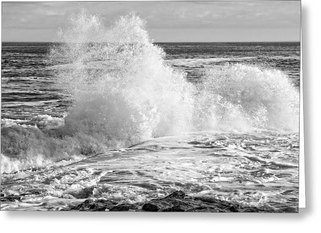 Coastal Maine Greeting Cards - Black and White of Large Waves On Rocky of Coast Of Maine Greeting Card by Keith Webber Jr