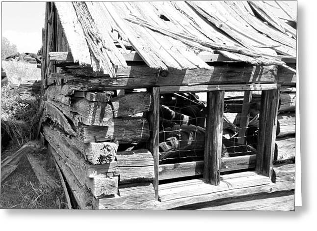Sheds Greeting Cards - Black and White of Old Shed Greeting Card by Pamela Pursel