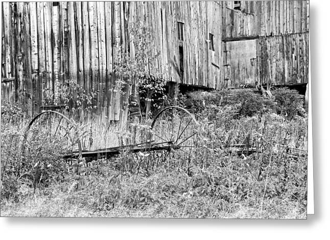 Old Maine Barns Greeting Cards - Black and White Old Barn In Maine Greeting Card by Keith Webber Jr