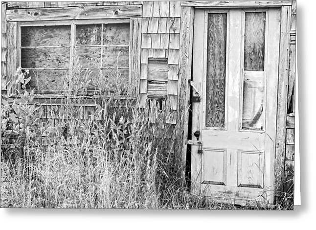 Shack Greeting Cards - Black and White Old Building In Maine Greeting Card by Keith Webber Jr