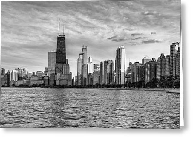 Black And White Panorama Of Chicago From North Avenue Beach Lincoln Park - Chicago Illinois Greeting Card by Silvio Ligutti