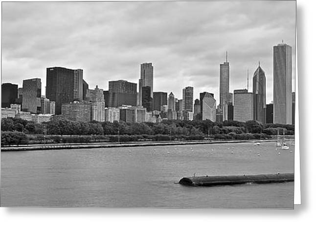 Chicago Bulls Greeting Cards - Black and White Panorama of Chicago Greeting Card by Frozen in Time Fine Art Photography