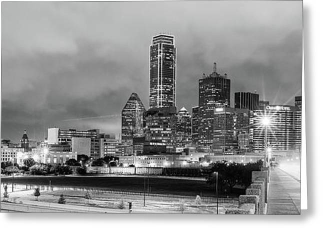 Black And White Panorama Of Downtown Dallas Skyline From South Houston Street - Dallas North Texas Greeting Card by Silvio Ligutti