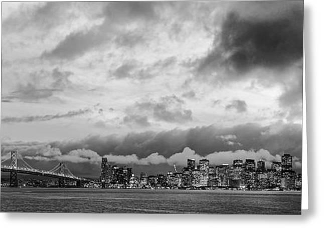 Black And White Panorama Of San Francisco Skyline And Oakland Bay Bridge From Treasure Island  Greeting Card by Silvio Ligutti