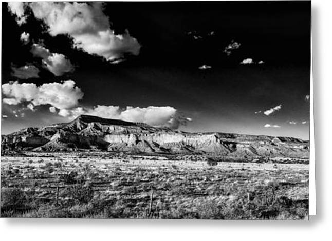 Taos Greeting Cards - Black and White Panorama of the Ghost Ranch Area a Tribute to the Master - Abiquiu New Mexico Greeting Card by Silvio Ligutti