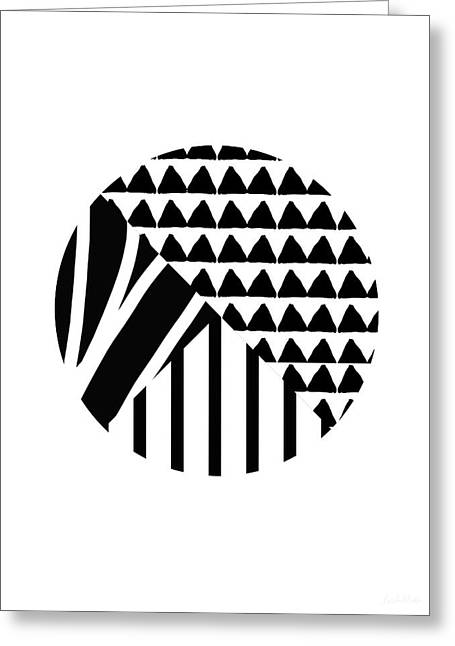 Black And White Patchwork Pattern Ball- Art By Linda Woods Greeting Card by Linda Woods