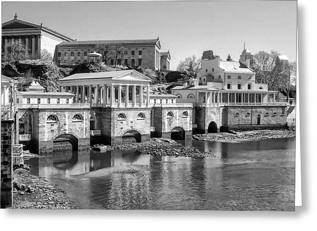 Philadelphia Digital Greeting Cards - Black and White Philadelphia Waterworks and Art Museum Panorama Greeting Card by Bill Cannon
