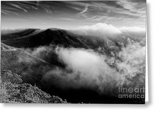 Black And White Photograph Of Fog Rising In The Marin Headlands - Sausalito Marin County California Greeting Card by Silvio Ligutti