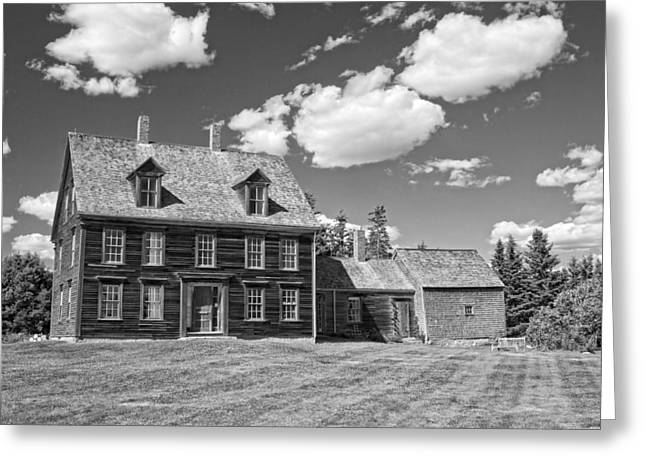 Maine Farms Digital Greeting Cards - Black and White Photograph of Olsen House Cushing Maine Greeting Card by Keith Webber Jr