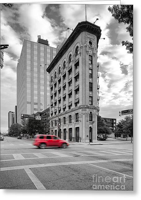 Black And White Photograph Of The Flatiron Building In Downtown Fort Worth - Texas Greeting Card by Silvio Ligutti