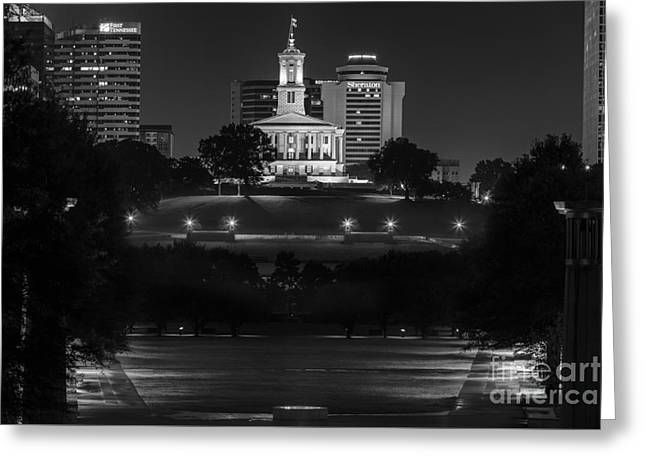 Tennessee Landmark Greeting Cards - Black and White photography print of the State Capital building of Nashville Tennessee at night  Greeting Card by Jeremy Holmes