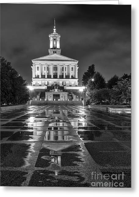 Tennessee Landmark Greeting Cards - Black and White photography print of the State Capital building of Nashville Tennessee Greeting Card by Jeremy Holmes