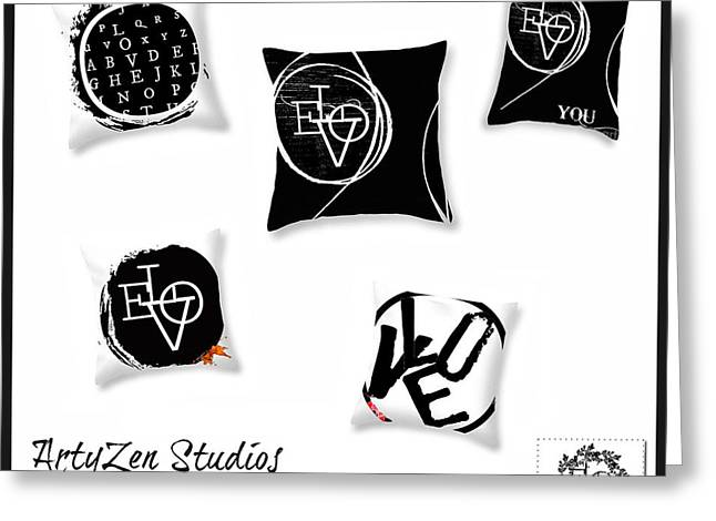 Award Mixed Media Greeting Cards - Black and White Pillows and Home Accessories Greeting Card by ArtyZen Studios - ArtyZen Home