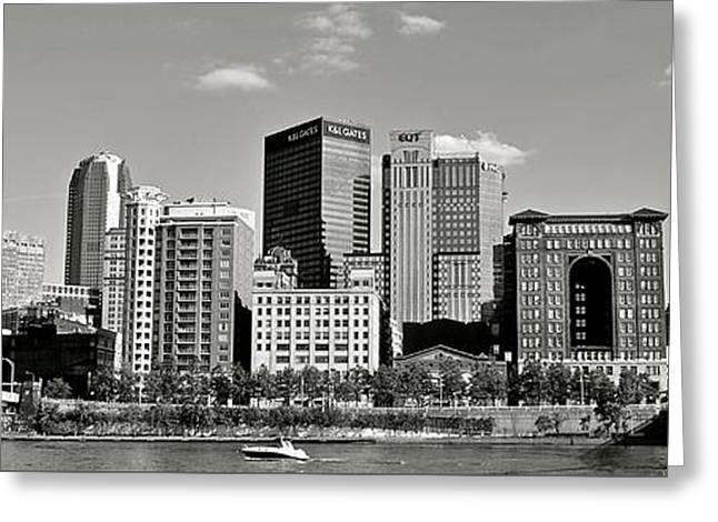 Incline Greeting Cards - Black and White Pittsburgh Panoramic Greeting Card by Frozen in Time Fine Art Photography