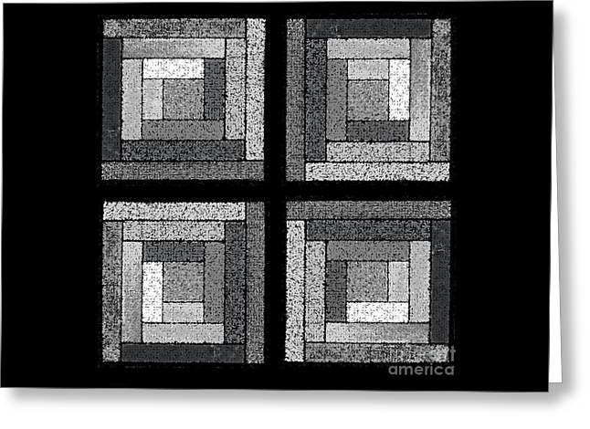 Black And White Quilt Squares Greeting Card by Karen Adams