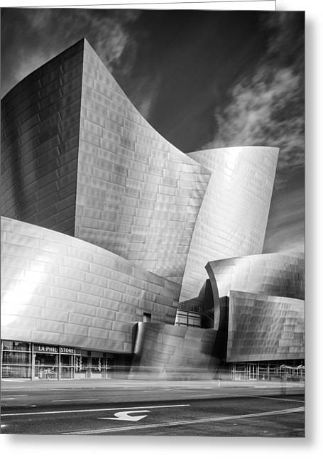 Black And White Rendition Of The Walt Disney Concert Hall - Downtown Los Angeles California Greeting Card by Silvio Ligutti