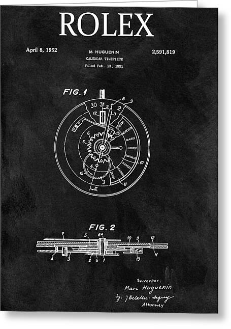 Black And White Rolex Patent Greeting Card by Dan Sproul